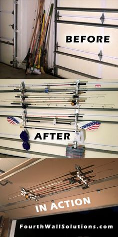 For Fishing Rods, Kayak Paddles and light Garden Tools to hang on your Garage Door or on your walls or ceiling Fishing Pole Storage, Kayak Storage Rack, Garage Storage Racks, Garage Organization Systems, Garage Storage Solutions, Storage Hooks, Door Storage, Fishing Rods, Fly Fishing