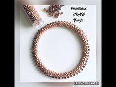 Embellished CRAW Bangle : Bracelet - Cubic right Angle Weave embellished with crystal bicones. - YouTube Bangle Bracelet, Beaded Bracelets, Bead Jewellery, Jewelry, Right Angle Weave, Bracelet Tutorial, Beaded Embroidery, Embellishments, Beading