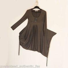 FABULOUS LAGENLOOK SOFT GREY FUNKY RUCH DRESS UK12/14 US8/10 EUR.42/44