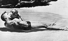 """Lancaster and Kerr's famous kiss in """"From Here to Eternity"""""""