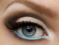 Eyeliner in the didn't just stay on top of the lid; a heavy white waterline was seen in makeup looks to make eyes pop. A groovy twist on the trend uses a bright color in the lower waterline, like this look from Pigments and Palettes. Eye Makeup, Makeup Tips, Hair Makeup, Makeup Geek, Boho Makeup, Pastel Makeup, Fresh Makeup, Makeup Trends, Makeup Ideas