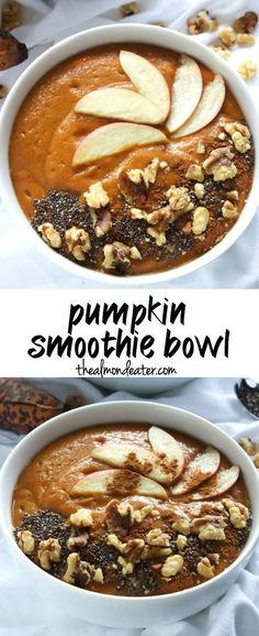 Pumpkin Smoothie Bowl The most delicious and filling way to enjoy pumpkin for breakfast. Topped with apple slices walnuts and cinnamon this smoothie bowl screams fall! Source by joaniersimon Smoothie Breakfast, Breakfast Desayunos, Breakfast Recipes, Breakfast Healthy, Best Smoothie Recipes, Healthy Smoothies, Healthy Pumpkin Smoothie, Healthy Pumpkin Recipes, Green Smoothies