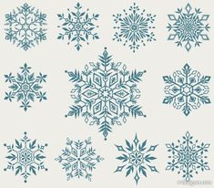 vector set of decorative snowflakes Christmas Clipart, Christmas Snowflakes, Christmas Art, Christmas Tattoo, Snow Flake Tattoo, Snowflake Background, Snowflake Pattern, Snowflake Template, Arte Popular