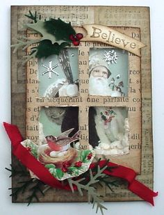 From Lynn Stevens in Kuna, Idaho.with script paper & embellishments.Trash to Treasure Art: Santa's On His Way. Christmas Cards To Make, Christmas Deco, Xmas Cards, Handmade Christmas, Vintage Christmas, Holiday Cards, Christmas Crafts, Christmas Ornaments, Atc Cards