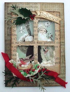 From Lynn Stevens in Kuna, Idaho.with script paper & embellishments.Trash to Treasure Art: Santa's On His Way. Christmas Deco, Handmade Christmas, Vintage Christmas, Christmas Ornaments, Atc Cards, Card Tags, Xmas Cards, Window Cards, Window Frames