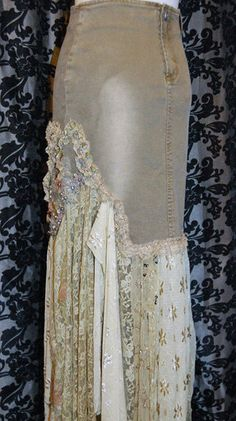 gypsy style gift shops | Beautiful Gypsy Style Denim and Lace Skirt, Size Small