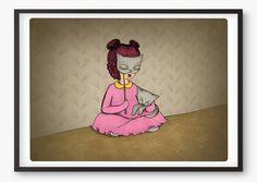 Cat Girl Art print  for National Cat Day!
