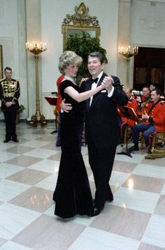 United States President Ronald Reagan dances with Princess Diana in the Cross Hall of the White House in Washington, D.C. at a Dinner for Prince Charles and Princess Diana of the United Kingdom on 9 Nov 1985