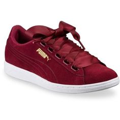 Puma  Women's Vikky Ribbon Casual Sneaker ($65) ❤ liked on Polyvore featuring shoes, sneakers, red, puma sneakers, laced shoes, lace up shoes, ribbon shoes and red lace up shoes