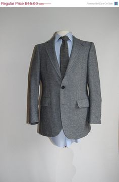 1 Day Sale Steel Blue Micro Gray Wool Check / Sports Coat Jacket Blazer / Mens Vintage 60s / 38R / Two Button