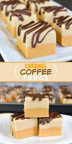 holiday baking Caramel Coffee Fudge - chocolate drizzles add a sweet and pretty look to the layers of caramel and coffee fudge. Make this easy no bake recipe for holiday parties! Easy Desserts, Delicious Desserts, Dessert Recipes, Recipes For Sweets, Quick Dessert, Health Desserts, Dinner Recipes, Coffee Fudge Recipes, Chocolate Fudge Recipes