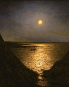 """Alexei Bogoliubov (Russian, - """"Moonlight at Pornic"""", 1867 - Oil on… Old Paintings, Landscape Paintings, Nocturne, Moonlight Painting, Beautiful Moon, Moon Art, Aesthetic Art, Belle Photo, Les Oeuvres"""