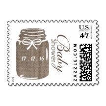 Rustic Burlap Mason Jar Baby Shower Stamp