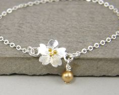 Silver Gold Flower Bracelet Delicate Silver by BeautifulByCharlene