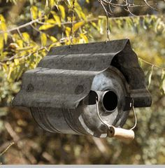Galvanized Metal Repurposed Birdhouse