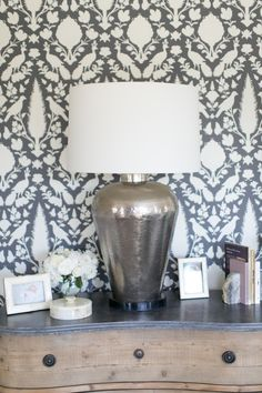 Chic patterned wallpaper. Photography: Bryce Covey - brycecoveyphotography.com  Read More: http://www.stylemepretty.com/living/2014/01/09/charlotte-hales-home-tour/