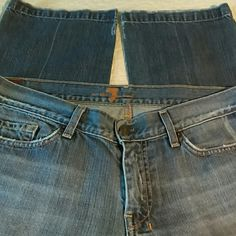 """7 FOR ALL MANKIND - Stove pipe leg - stone washed Stove pipe leg - low rise - lightly stressed - stone washed - 100% cotton Size 31 translates to size 13 Flat measurements: Inseam 30 1/2"""" low waist 17"""" hips 20"""" front rise 8"""" back rise 13"""" cuff 9"""" 7 for all Mankind Jeans Straight Leg"""