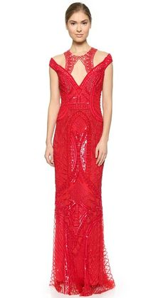 Monique Lhuillier Beaded Cutaway Gown - Rouge $2,098.50 AT vintagedancer.com