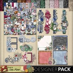 Flaky Friends Scrapbook Bundle, Winter scrapbook collection, snowman scrapbook collection, brick papers, glitter papers, page clusters, frame clusters, border clusters, predeco stacked papers, quick pages, winter quick page