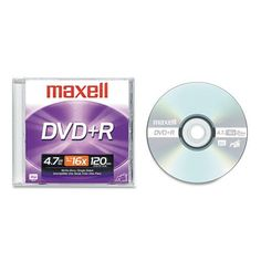 Maxell® - DVD+R Disc, 4.7GB, 16x, w/Jewel Case, Silver - Sold As 1 Each - Preserve memorable moments and important files. by Maxell. $4.13. Maxell® - DVD+R Disc, 4.7GB, 16x, w/Jewel Case, SilverPreserve memorable moments and important files, or share them with business associates, friends, and family. High-speed recording allows discs to be burned quickly and efficiently. Large capacity is ideal for personal videos, multimedia presentations, archival backups, digital image ...