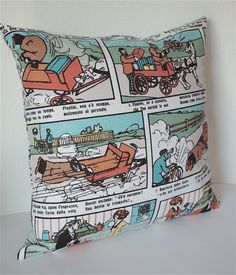 "Print on BOTH SIDES / Pop Art Modern decorative Cushion cover 18""x18"" / Invisible zipper / European Comic. €20.00, via Etsy."