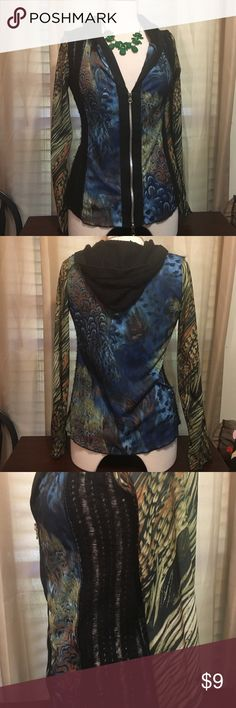 Very cool BoHo hoodie size medium Just Living Cute boho hoodie. Size medium open weave on the side double zippers excellent preowned condition Just Living Tops