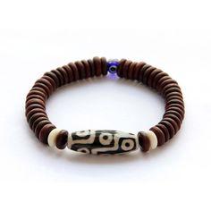 Tibetan Agate 9 Eye Dzi Bead And Rosewood Beads by 8giftshop, $4.90