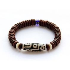 Tibetan Agate 9 Eye Dzi Bead And Rosewood Beads by 8giftshop, $4.90