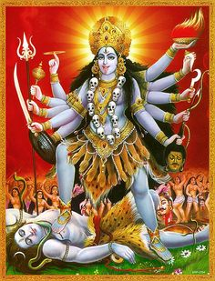 Kali, or the dark goddess, is the fearful and ferocious form of the mother goddess Durga. She stands with one foot on the thigh, and another on the chest of her husband, Shiva. So bad ass. Kali Goddess, Mother Goddess, Indian Gods, Indian Art, Religions Du Monde, Kali Mata, Divine Mother, Mother Kali, Sacred Feminine
