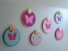 These are awesom wall hangings.  The butterflies are beautiful and they look perfect in the hoops w/ the flower, all grouped together.  Just darling.  Jac would absolutely love these.
