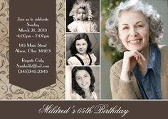 Custom Adult Photo Birthday Invitation Thank You Card 90th Birthday Invitations, 90th Birthday Parties, Birthday Crafts, Mom Birthday, Birthday Design, Card Birthday, Carton Invitation, Invitation Cards, Birthday Photos