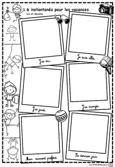 Instantanés pour les vacances - Dix mois French Teacher, Teaching French, Teaching Tools, Teaching Resources, Kindergarten First Week, French Worksheets, French Grammar, Core French, French Classroom