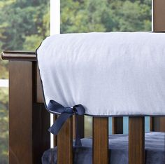 Classic Blue Oxford Crib Rail Cover | Blue Baby Bedding | Liz and Roo Fine Baby Bedding