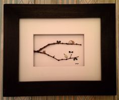 PLEASE REPIN ** 8 x 10 Pebble Art Picture, Birds on tree branch , framed in your choice of stain color - by Jodi Bolger To see more Pebble Art Pictures by Jodi Bolger visit my ETSY SHOP @ www.etsy.com/shop/pebbleartbyjodi #lovebirds #birdlover #birdhouses #birdsonabrach #pebblebirds #seaglassbirds
