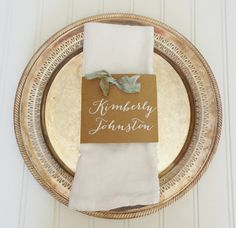 25 Place Card Napkin Wraps Calligraphy - Send your guest list and choose ribbon color!
