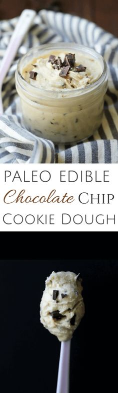 Paleo Edible Chocolate Chip Cookie Dough - 5 minutes is all you need! ***sub dairy free butter*** | wickedspatula.com