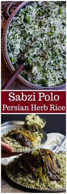 Sabzi Polo (Persian Herb Rice) Unicorns in the Kitchen Middle East Food, Middle Eastern Recipes, Middle Eastern Vegetarian Recipes, Middle Eastern Rice, Canadian Recipes, Iranian Cuisine, Iranian Food, Rice Dishes, Vegetarian Recipes