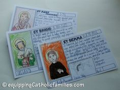 Quiet Craft for All Saints Day: little research projects...each child takes home a Saint Recipe Card!