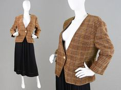 Vintage 80s Alexon Tweed Jacket Womens Tweed Blazer by ZeusVintage