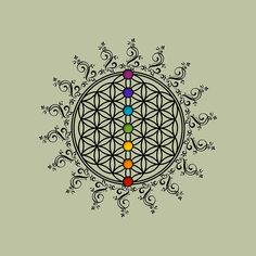 'Flower of life with rainbow chakras, sacred geometry.' Tote Bag by Anne Mathiasz Chakra Tattoo, Mandala Arm Tattoo, Mandala Art, Zen Tattoo, Mandala Tattoo Meaning, Ganesh Tattoo, Flower Of Life Tattoo, Flower Tattoos, Yoga Tattoos
