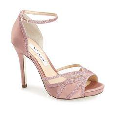 "Nina 'Kerstin' Ankle Strap Sandal, 4"" heel (€87) ❤ liked on Polyvore featuring shoes, sandals, heels, sugar glaze, glitter shoes, party shoes, ankle strap sandals, glitter sandals and high heel sandals"