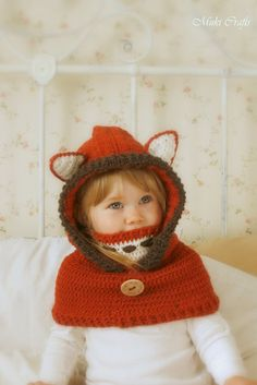 Crochet fox hood cowl Reed - PDF knitting pattern - in baby, toddler, child and adult sizes