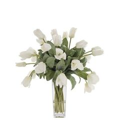 Natural Decorations, Inc. - Tulip | Flared Glass Vase | Cream White