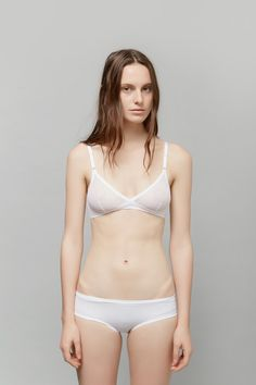 Yasmine Eslami Lily White Soft Bra | Lace Brief | My Chameleon