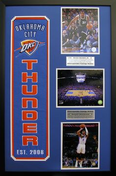 Oklahoma City Thunder NBA Heritage Wall Art. Perfect decor for a man cave, basement or office! Great gift for the sports fan in your life.