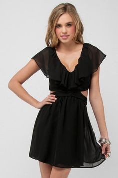 Ruffled Cutout Dress in Black $82 at www.tobi.com