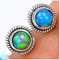 Ethiopian Opal Stud earrings. Solid Opal earrings. by AmyKJewels