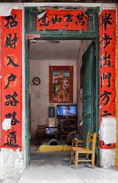 Evening TV . Tachu village . Guangxi province . China