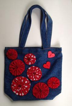 Flor yoyo adornado del dril de algodón bolso de totalizador