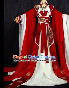 Gorgeous Chinese BJD Costumes Fairy Princess Empress Queen Cosplay Costumes Ancient Chinese Clothing Complete Set for Women Green Costumes, Red Costume, Traditional Fashion, Traditional Dresses, Beautiful Outfits, Cool Outfits, Dynasty Clothing, Cosplay Outfits, Cosplay Costumes